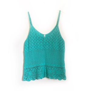 Aeropostale Teal Crochet Tank Top